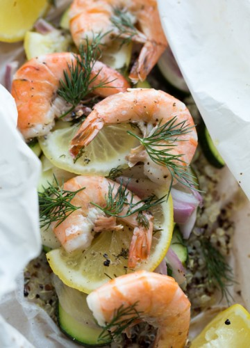 Shrimp in parchment paper