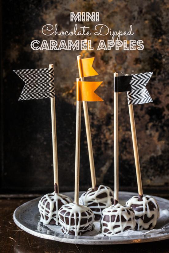 mini chocolate dipped caramel apples - Jelly Toast