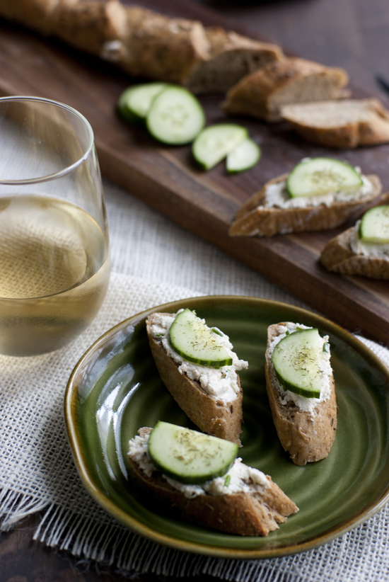 Cucumber Rye Cream Cheese Toasts