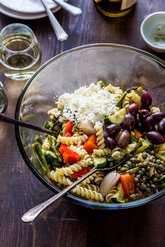 Rotini with Roasted Vegetables and Olives by Jelly Toast