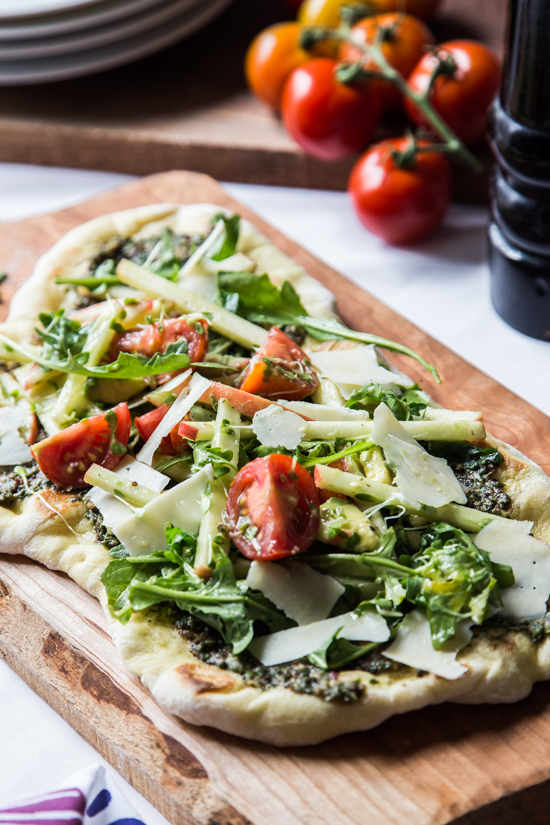 Pesto Flatbread with Microgreens Salad by Jelly Toast