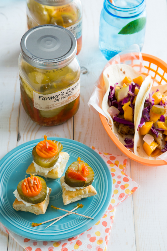 Honey Goat Cheese Pickle Bites + Mango Dill Pickle Slaw