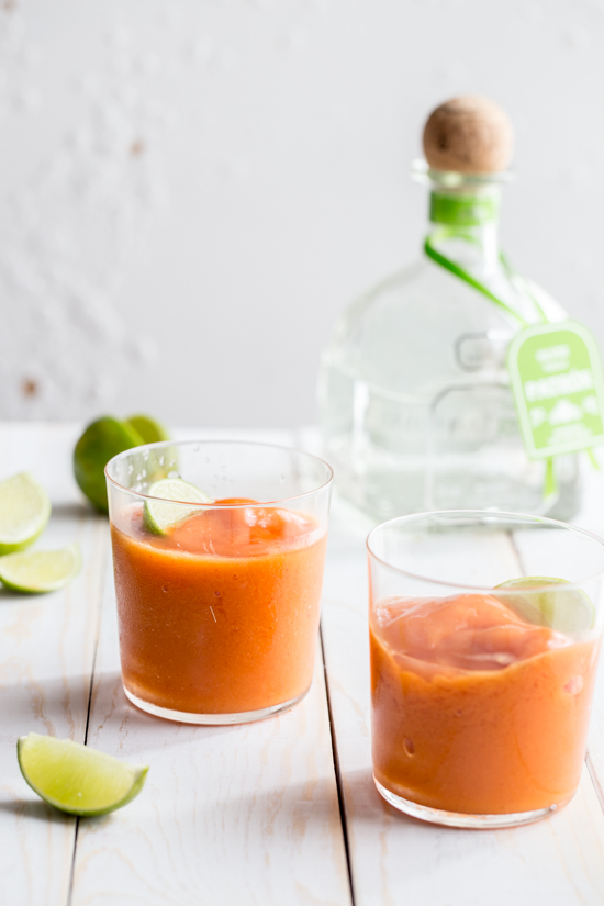 frozen mango strawberry cocktail by Jelly Toast #cocktailfriday