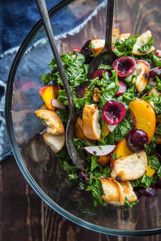 Cherry Kale Panzanella Salad by Jelly Toast