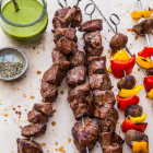 steak skewers with chimichurri #SundaySupper