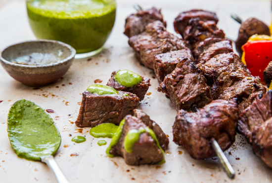Steak Skewers with Chimichurri by Jelly Toast #SundaySupper