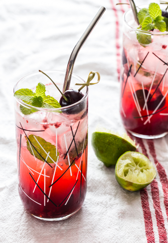 Sweet Cherry Mojitos by Jelly Toast