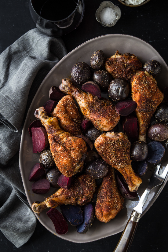Blackened Chicken Legs with Red Beets and Potatoes   www.jellytoastblog.com