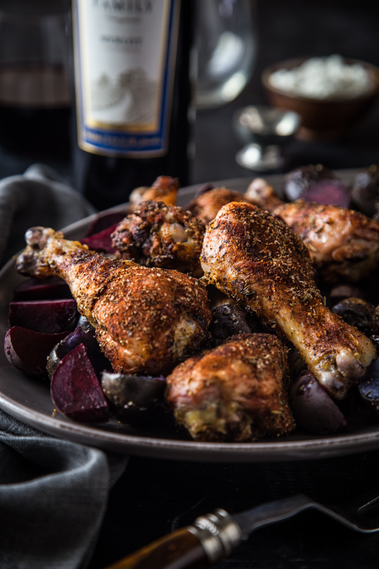 Blackened Chicken Legs with Red Beets and Potatoes | www.jellytoastblog.com