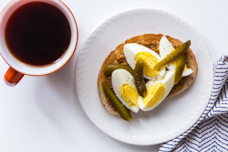 Hard Boiled Egg Toast with Mustard and Pickles