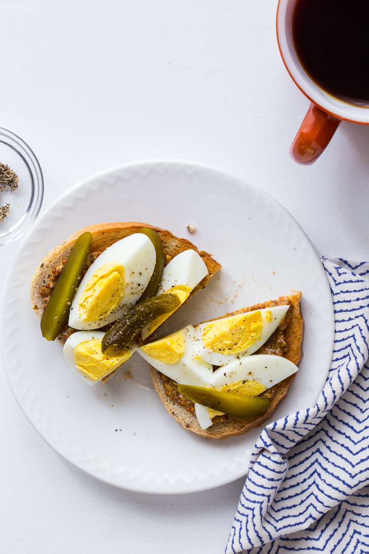 Hard Boiled Egg Toast with Mustard and Pickles | JellyToastBlog.com
