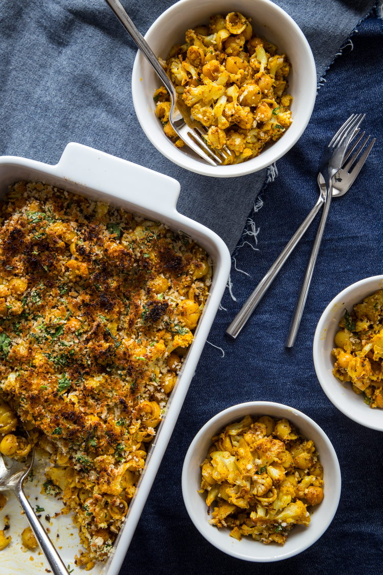 Roasted Cauliflower and Chick Pea Mac and Cheese