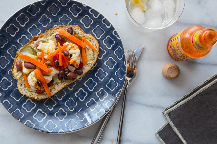 Hummus Toast with Pickled Veggies