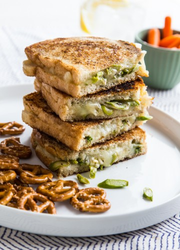 stack of asparagus grilled cheese sandwiches