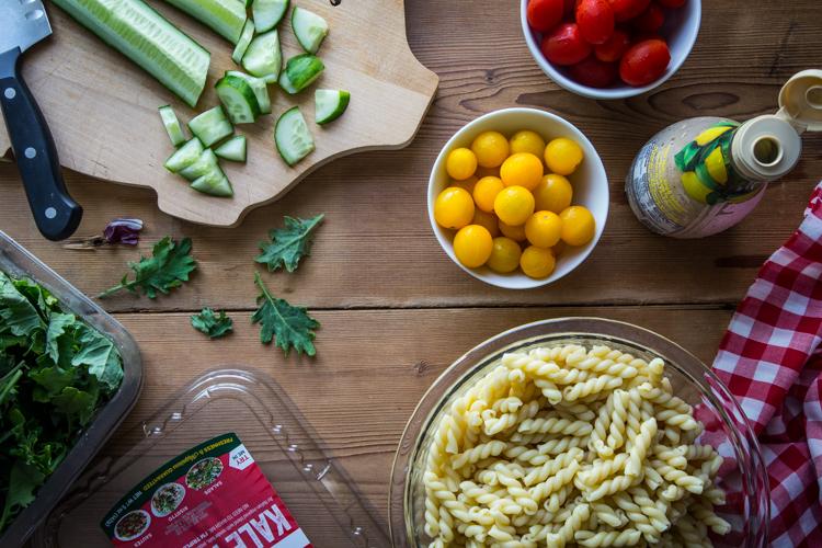 Pasta Salad with Tomatoes and Cucumber | JellyToastBlog.com