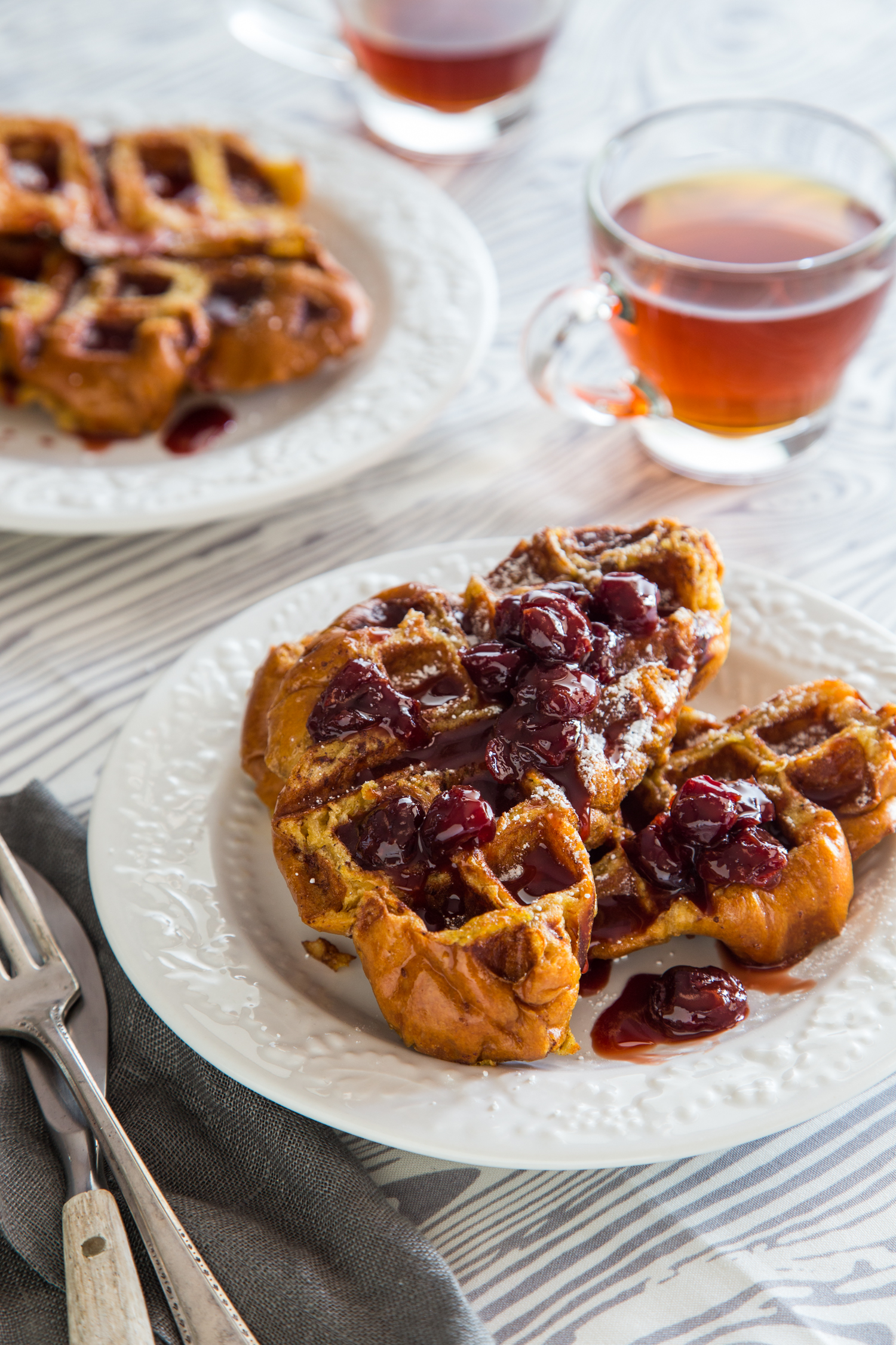 French Toast Waffles with Tart Cherry Syrup | JellyToastBlog.com