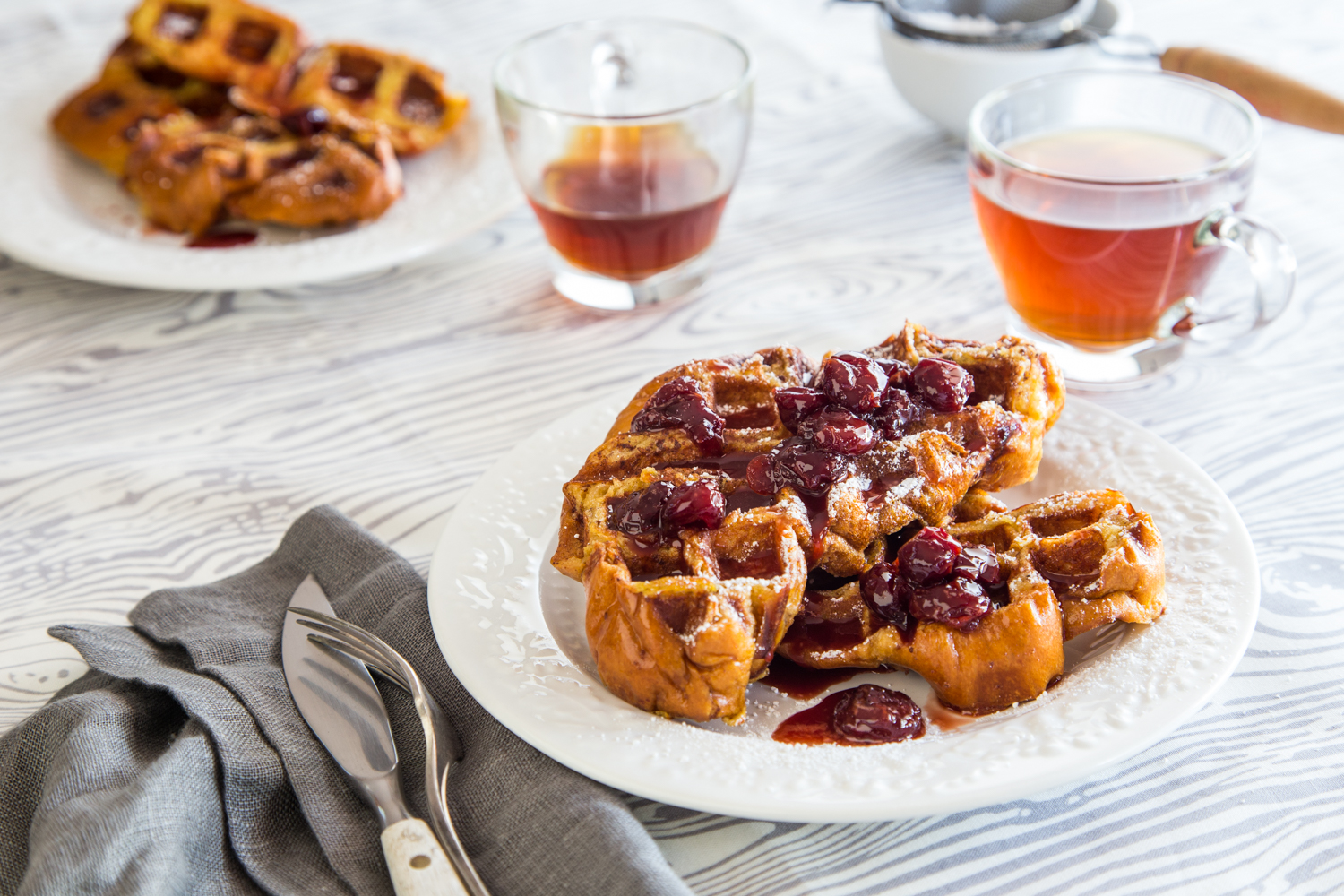 French Toast Waffles with Tart Cherry Syrup - Jelly Toast