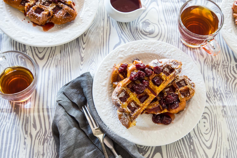 French Toast Waffles with Tart Cherry Syrup | JellyToastBlog.com