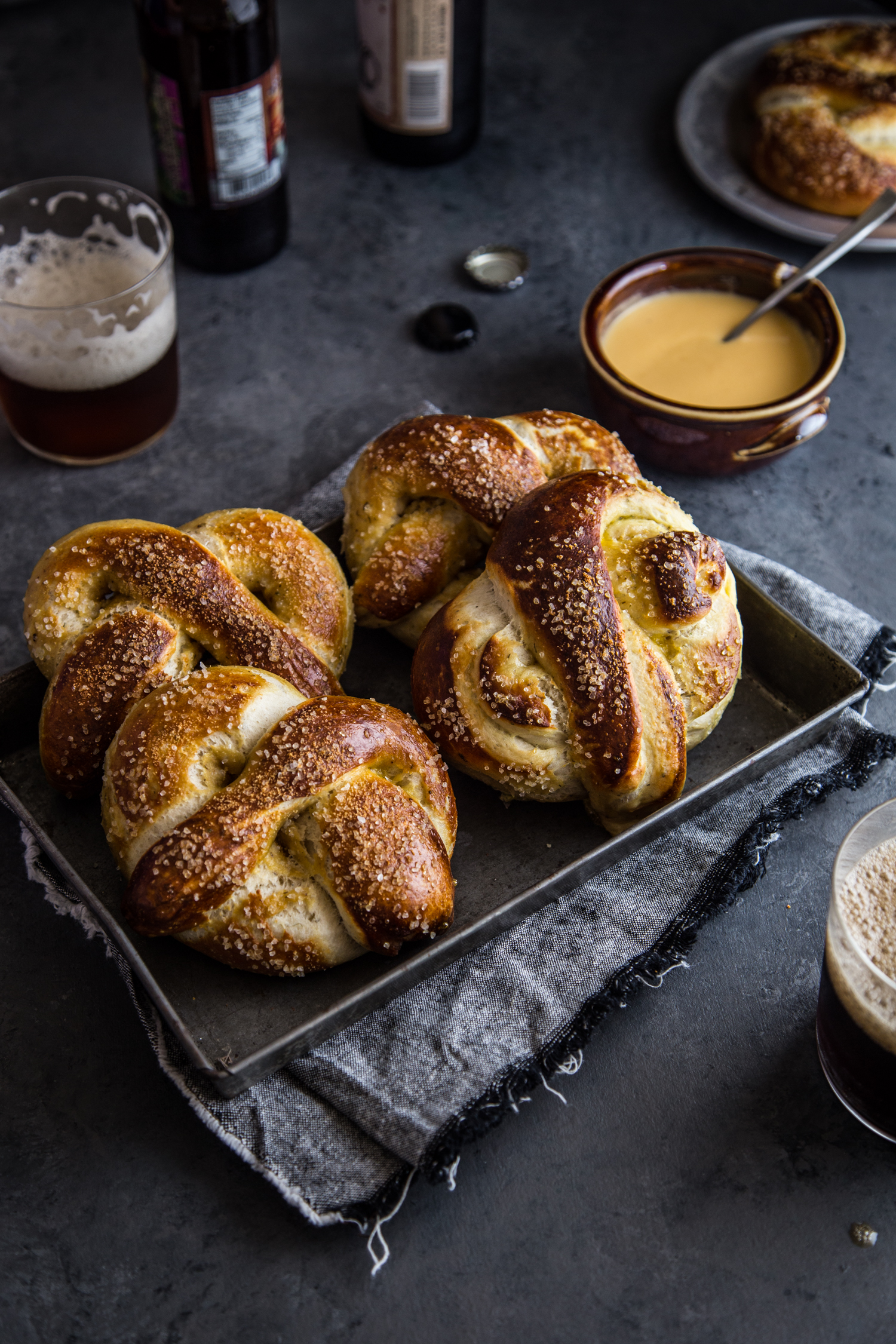 Garlic Herb Baked Pretzels with Cider Cheese Dip | JellyToastBlog.com