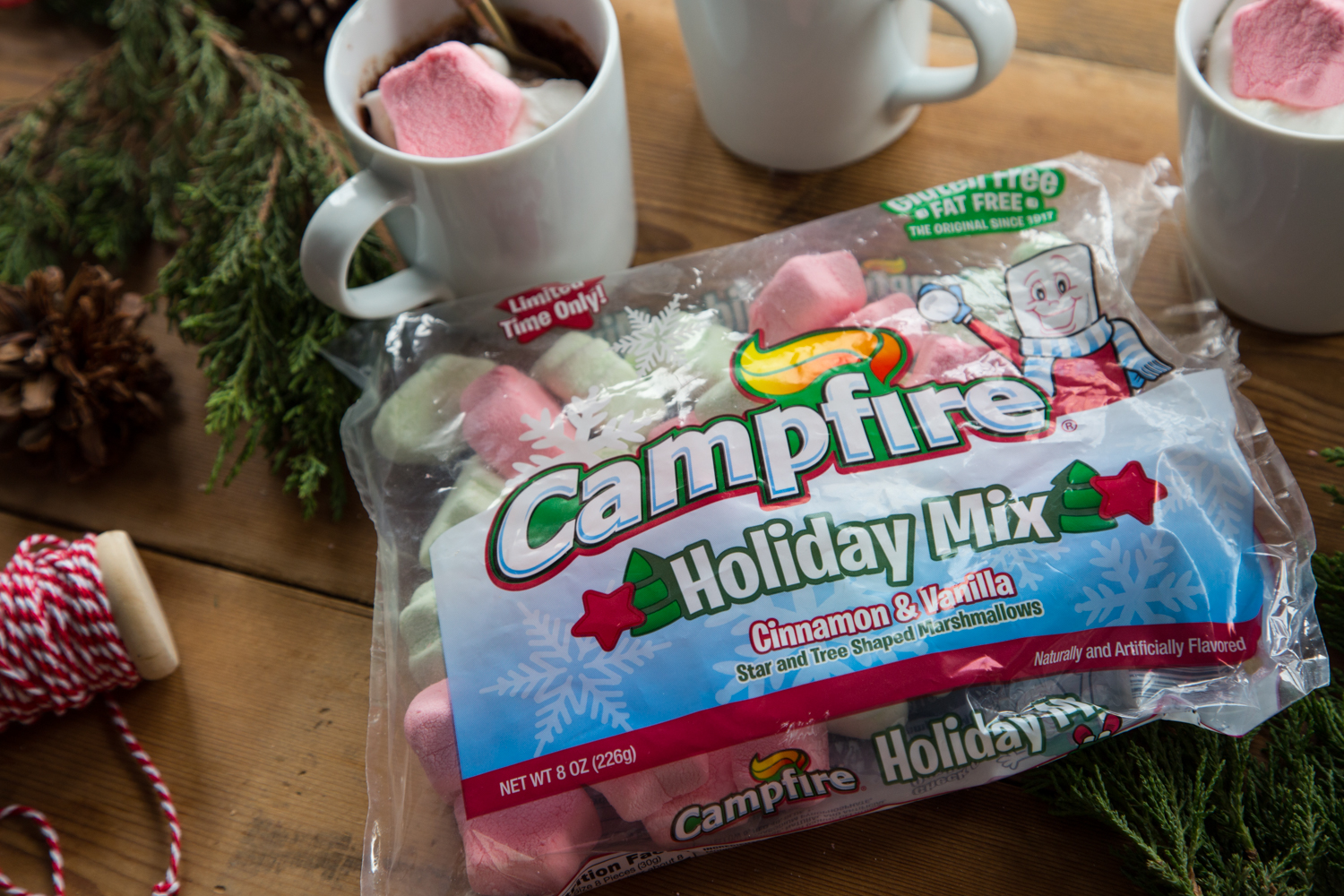 Campfire® Holiday Mix marshmallows are the perfect finishing touch on this Cinnamon Marshmallow Mug Brownie!