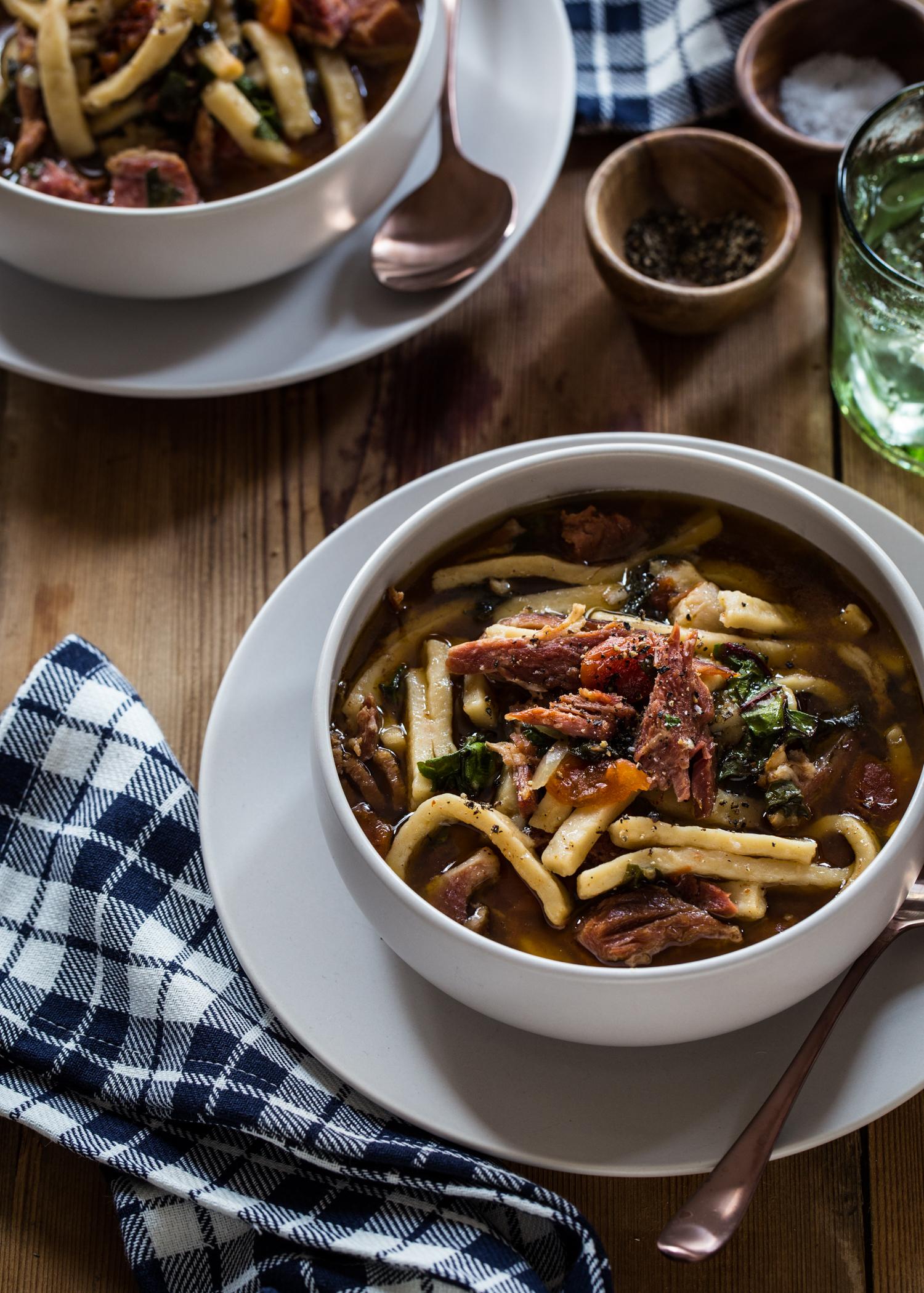 Slow Cooker Ham Noodle Soup | JellyToastBlog.com