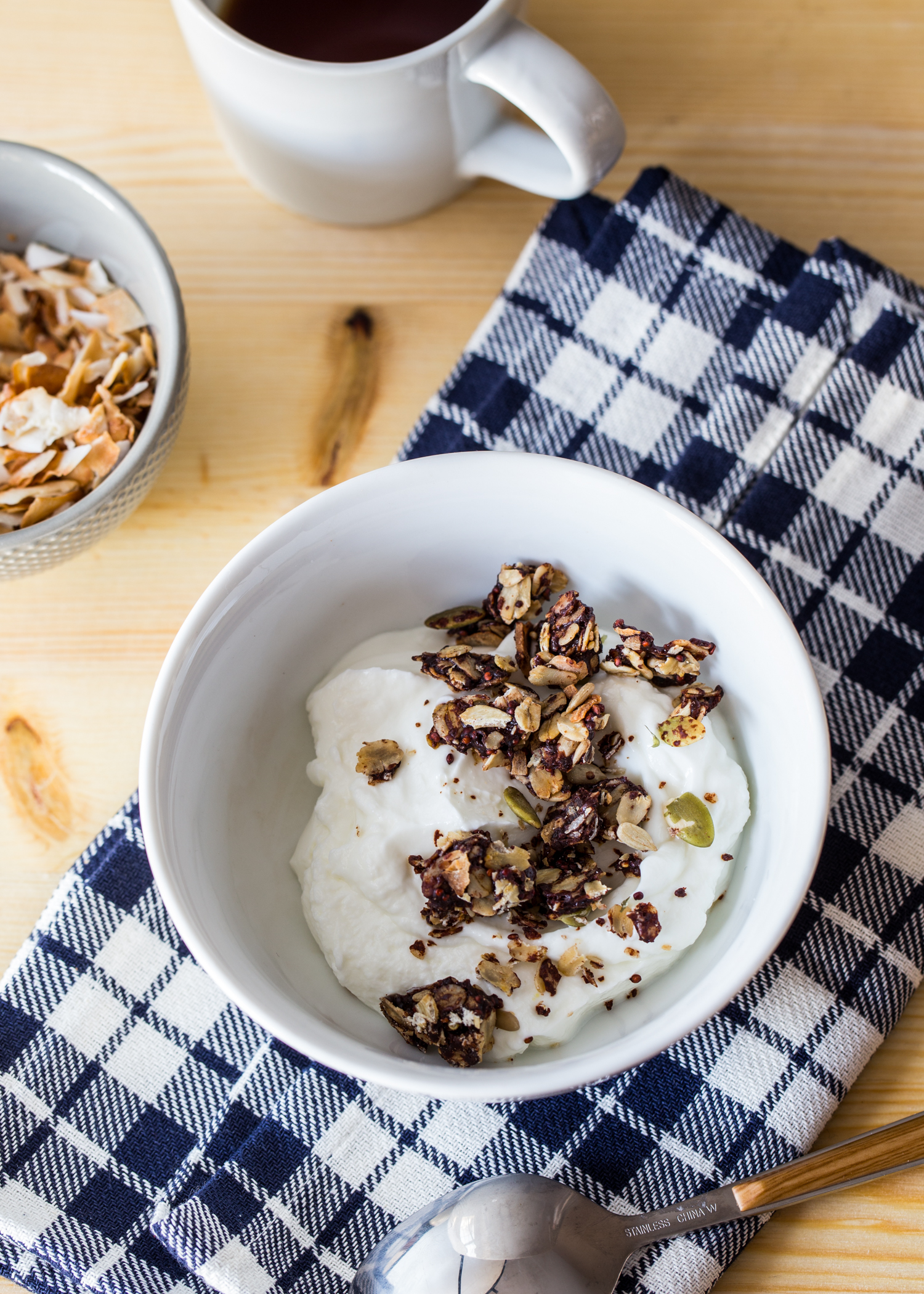 Chocolate Coconut Granola is a great, crunchy topping for Greek yogurt.