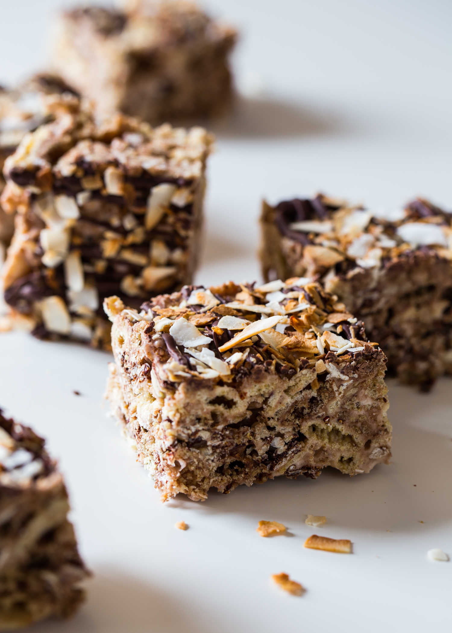 No bake Chocolate Coconut Marshmallow Treats have chocolate, toasted coconut and granola! #glutenfree