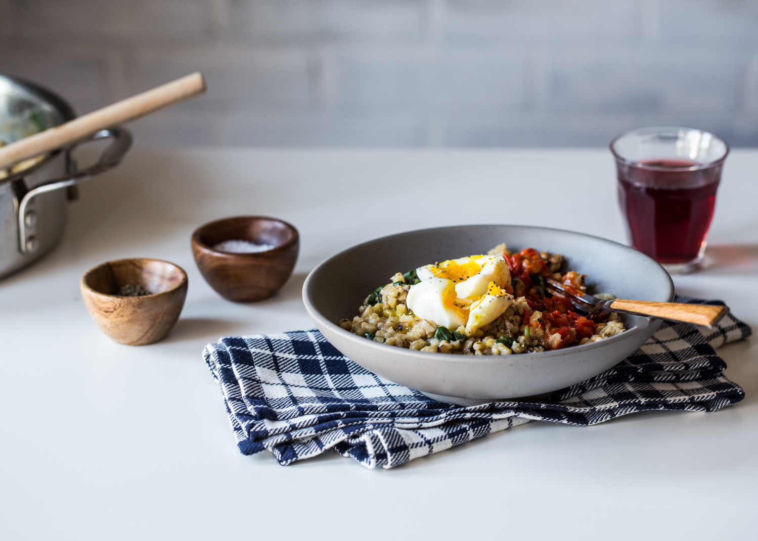 Barley Spinach Risotto is a great side dish or hearty enough for a complete meal