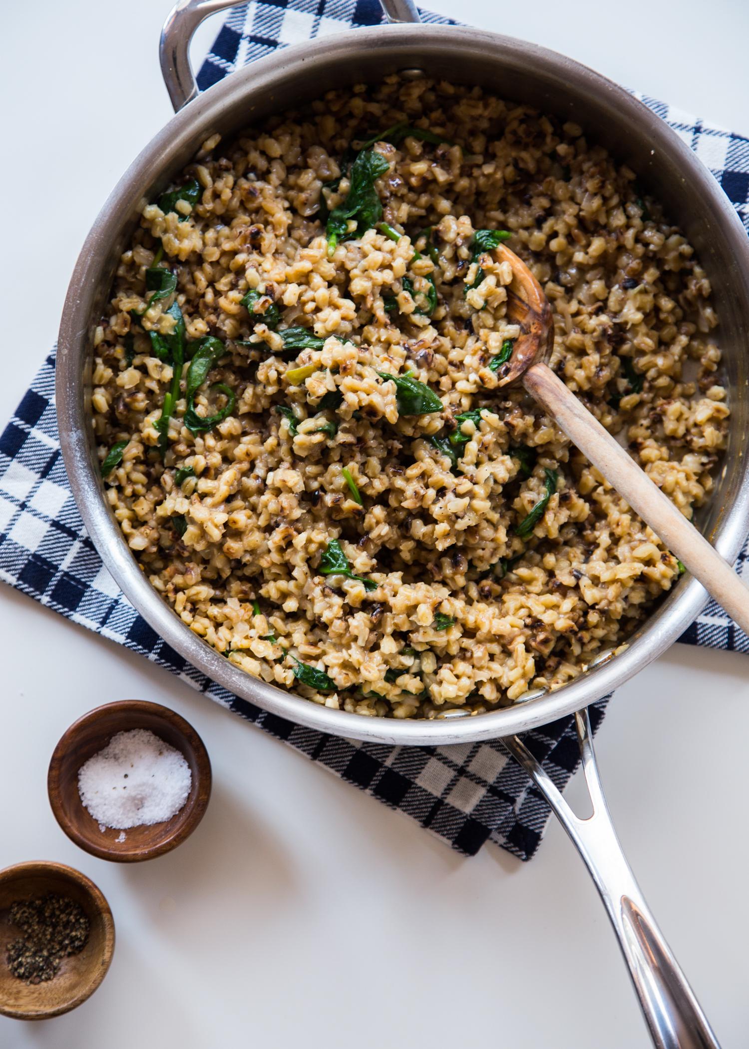 Barley Spinach Risotto