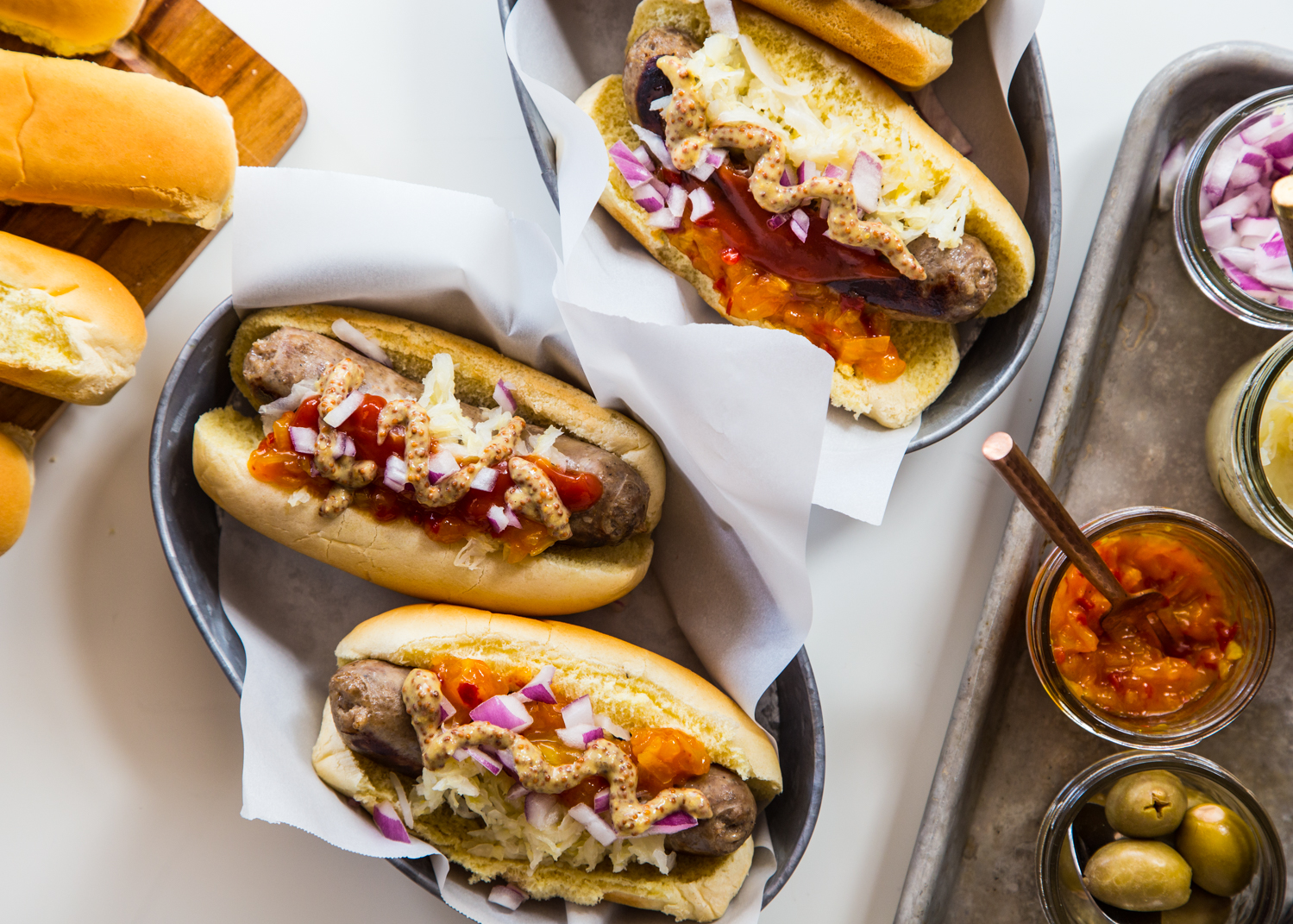 Your guests will love a deluxe Bratwurst and Hot Dog Bar for the big game!