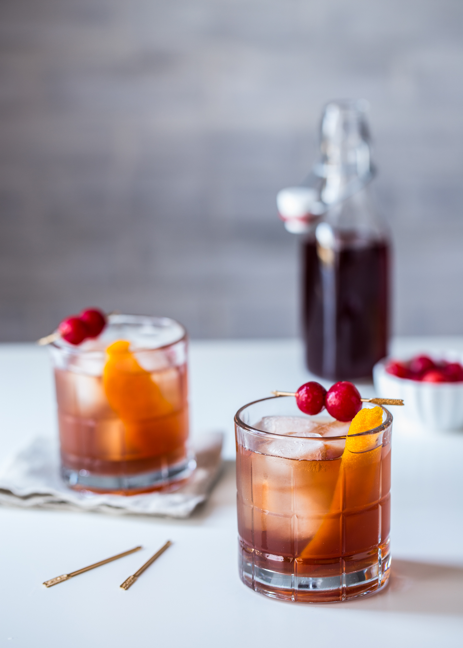 A Tart Cherry Old Fashioned is a fantastic Valentine's Day cocktail
