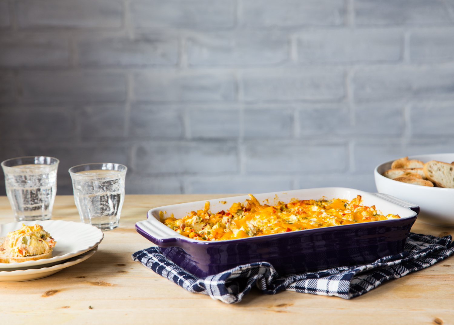 Baked Vegetable Cheese Dip made with Challenge Dairy Cream Cheese
