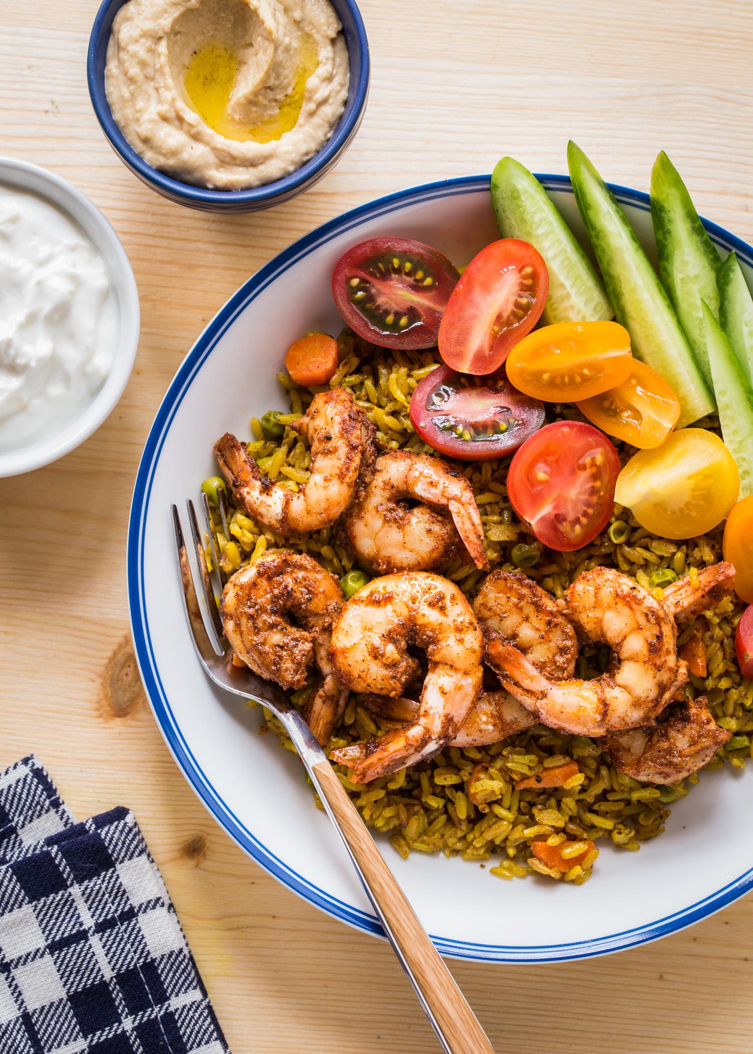 Spicy shrimp made with homemade Shawarma Seasoning are the star of these Shrimp Shawarma Bowls