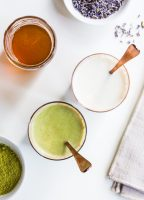 Flavored Milk Three Ways - Lavender Honey Milk with Matcha Powder