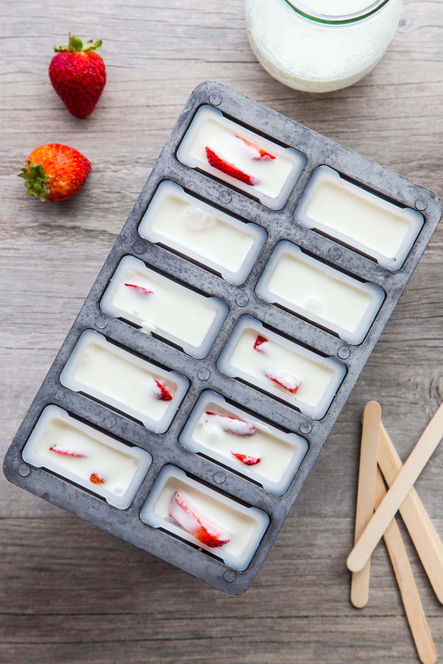 Creamy Vanilla Berry Popsicles made with wholesome milk and yogurt