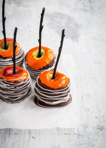 Marshmallow Dipped Apples with dark and white chocolate candy coating