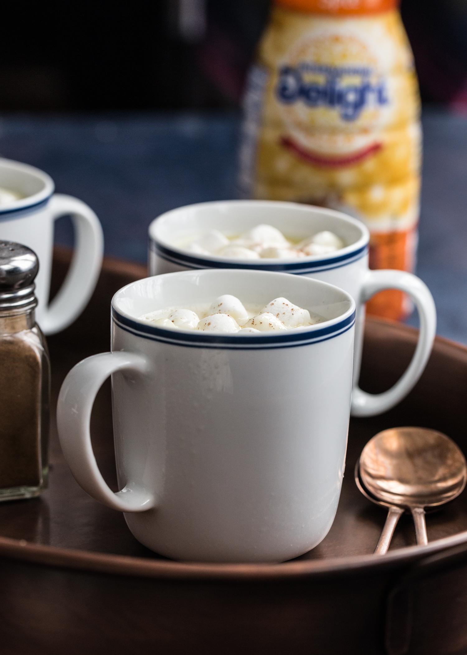 Pumpkin Spice White Hot Chocolate made with International Delight Pumpkin Spice Coffee Creamer
