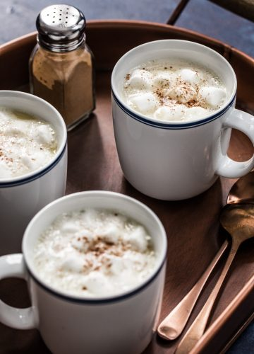 Pumpkin Spice White Hot Chocolate made with whole milk, white chocolate, and International Delight Pumpkin Spice Coffee Creamer