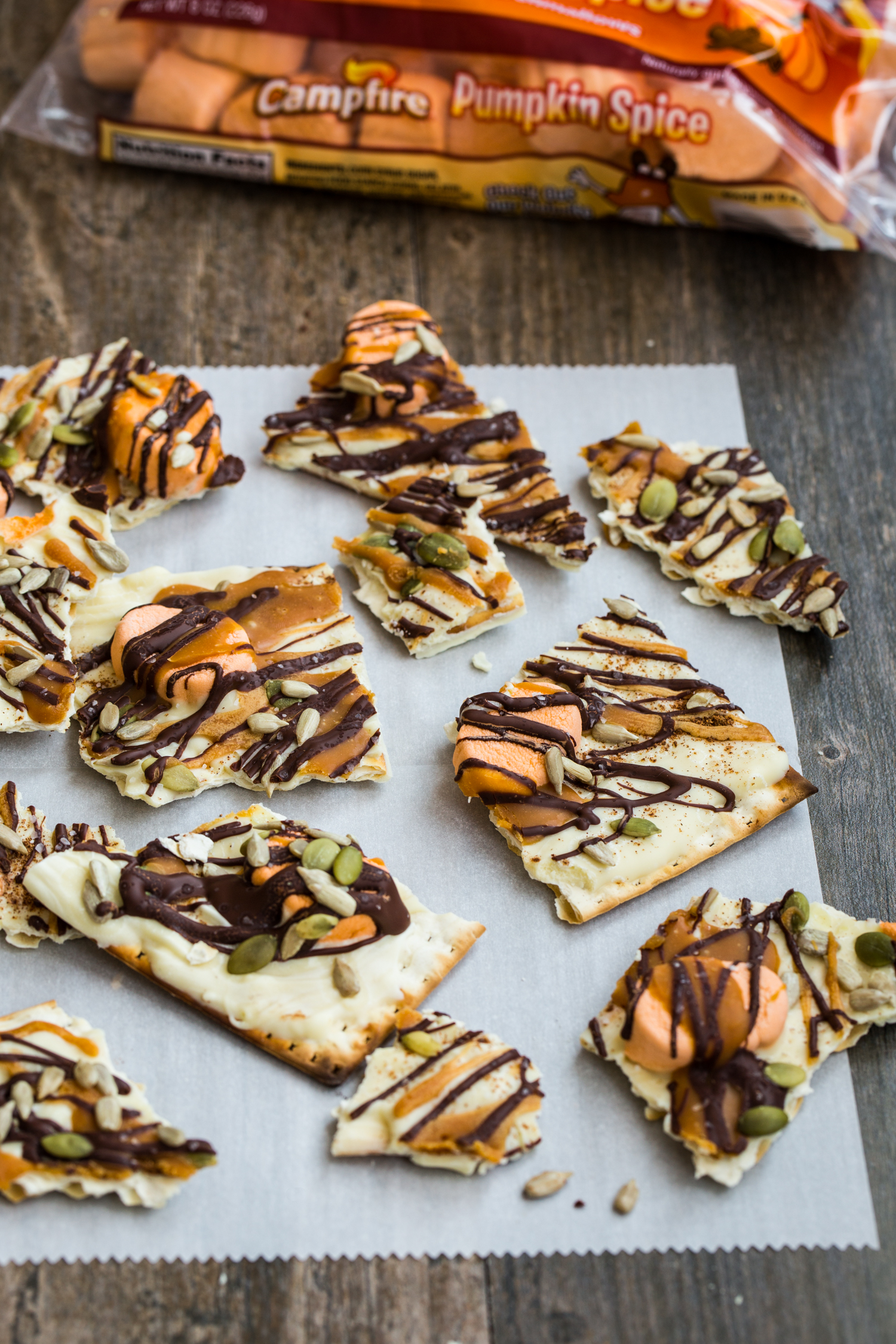 Pumpkin Spice White Chocolate Bark made with matzo crackers and Campfire® Marshmallows