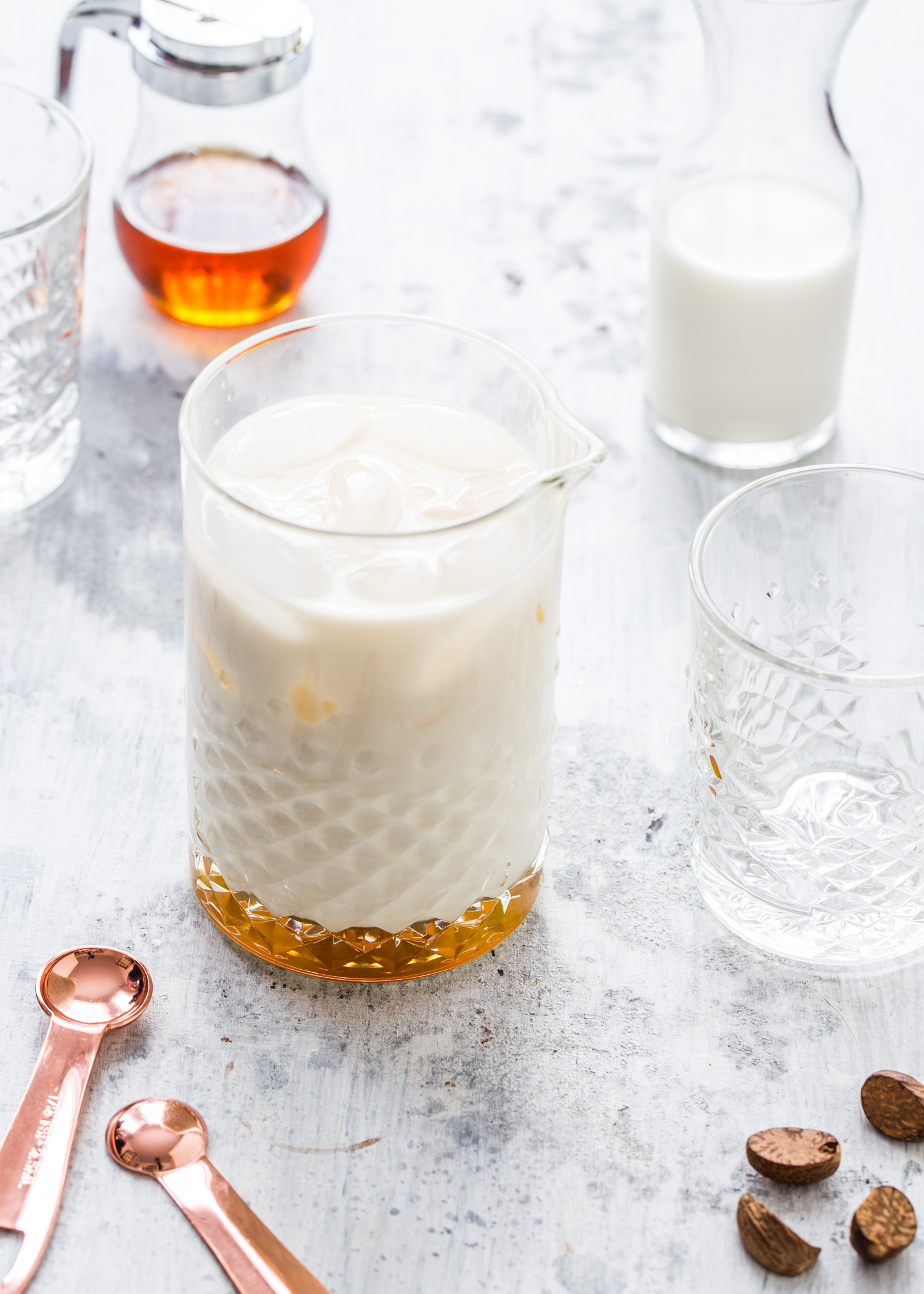 Milk Punch Two Ways - Served over ice for a crisp winter cocktail