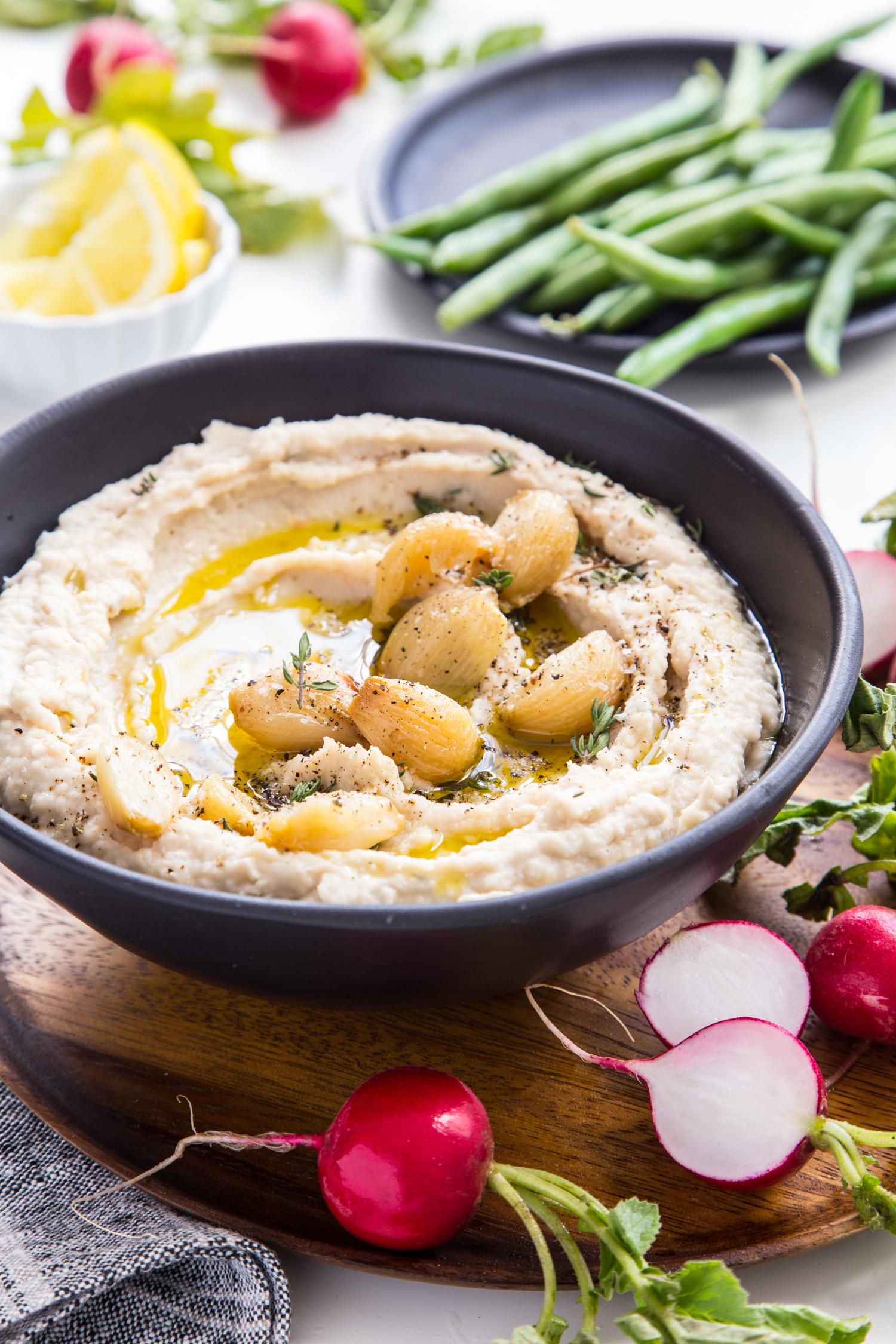 Life Behind The Scenes Week 1 // White Bean Roasted Garlic Hummus
