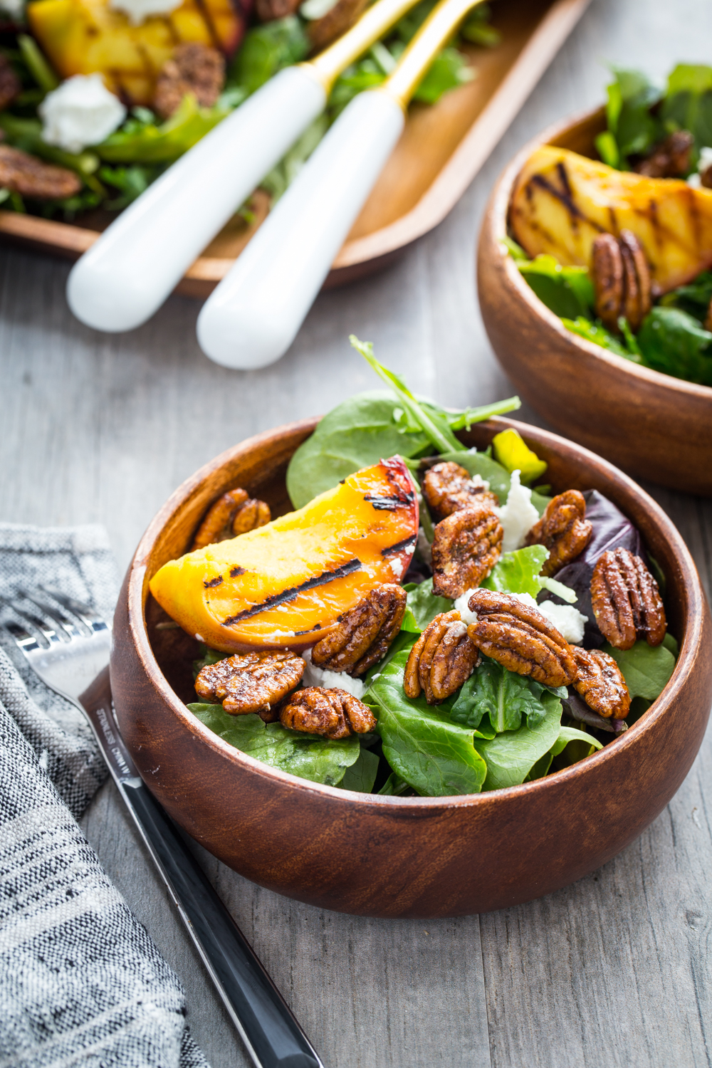 Spiced Pecan Grilled Peach Salad from Jelly Toast - Full of lovely spiced pecans and tender grilled peaches