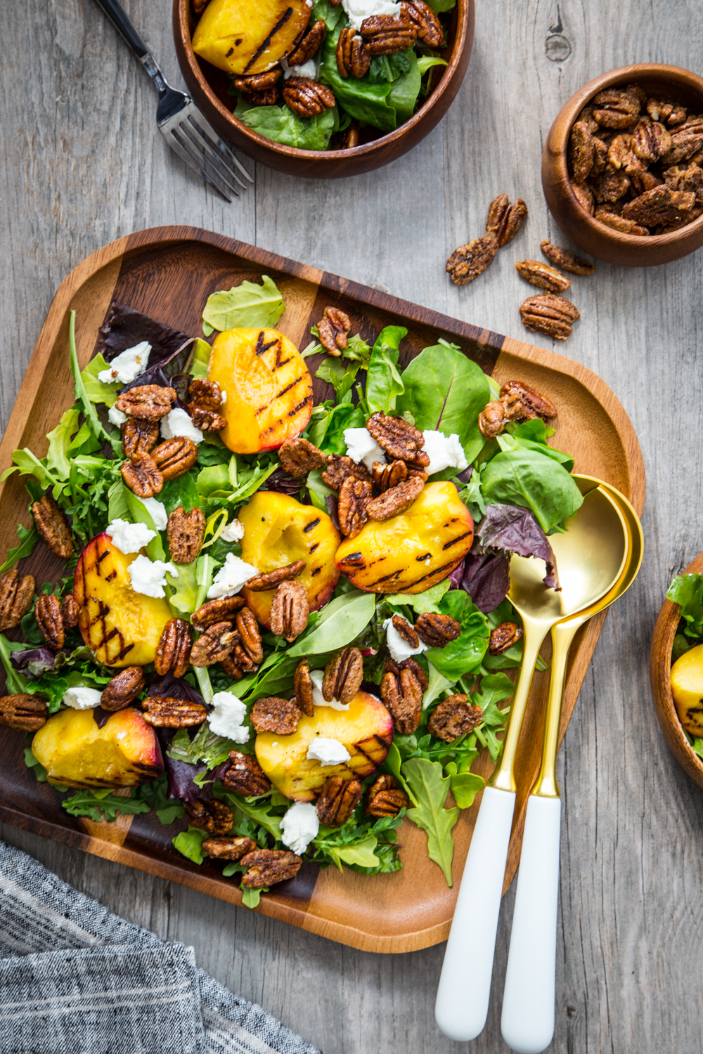 Spiced Pecan Grilled Peach Salad from Jelly Toast with American Pecans