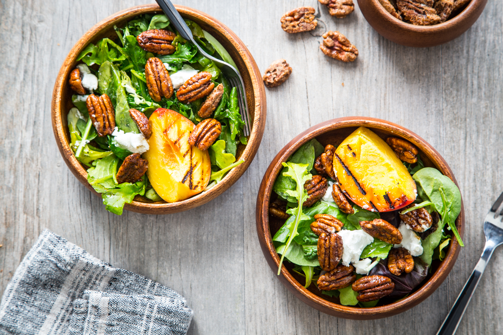Spiced Pecan Grilled Peach Salad with @AmericanPecan