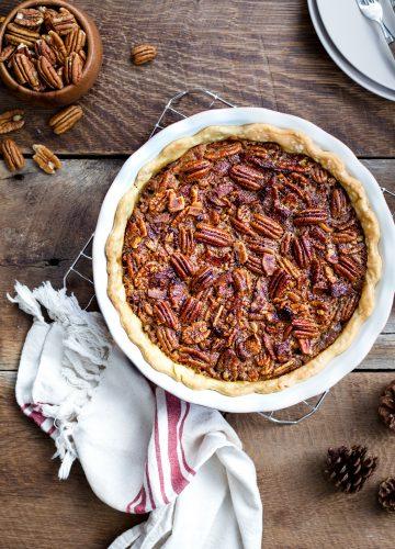 Bourbon Bacon Pecan Pie with American Pecan | jellytoastblog.com