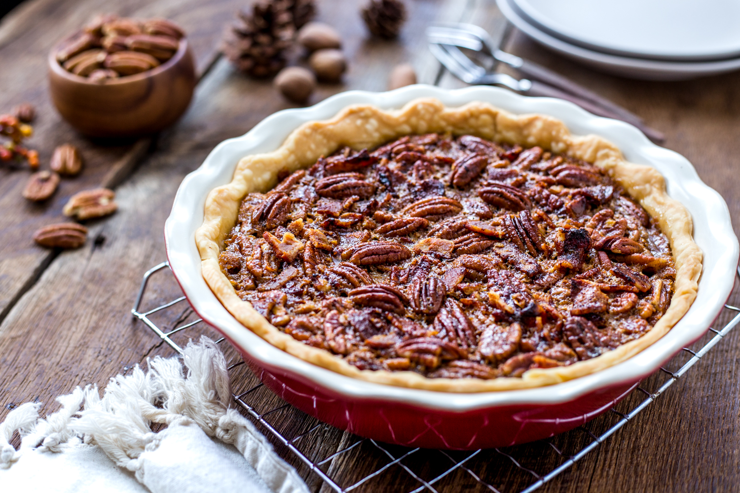 Bourbon Bacon Pecan Pie is a great twist on a Thanksgiving classic