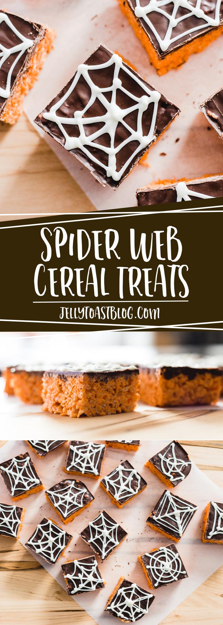 Spider Web Cereal Treats from Jelly Toast Blog jellytoastblog.com with Campfire Marshmallows HallowMallows