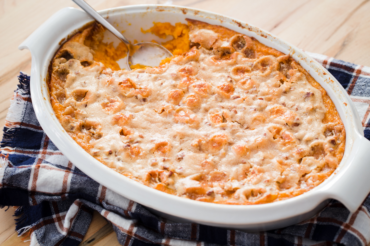 Marshmallow Pecan Sweet Potato Casserole with Campfire Marshmallows