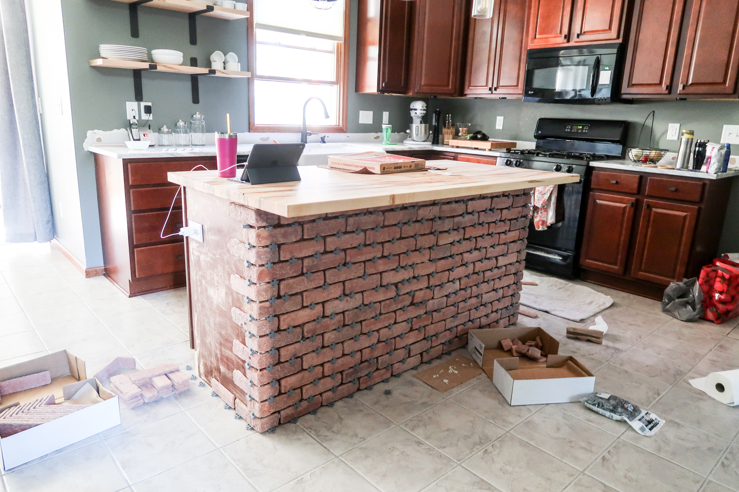 brick veneer on kitchen island