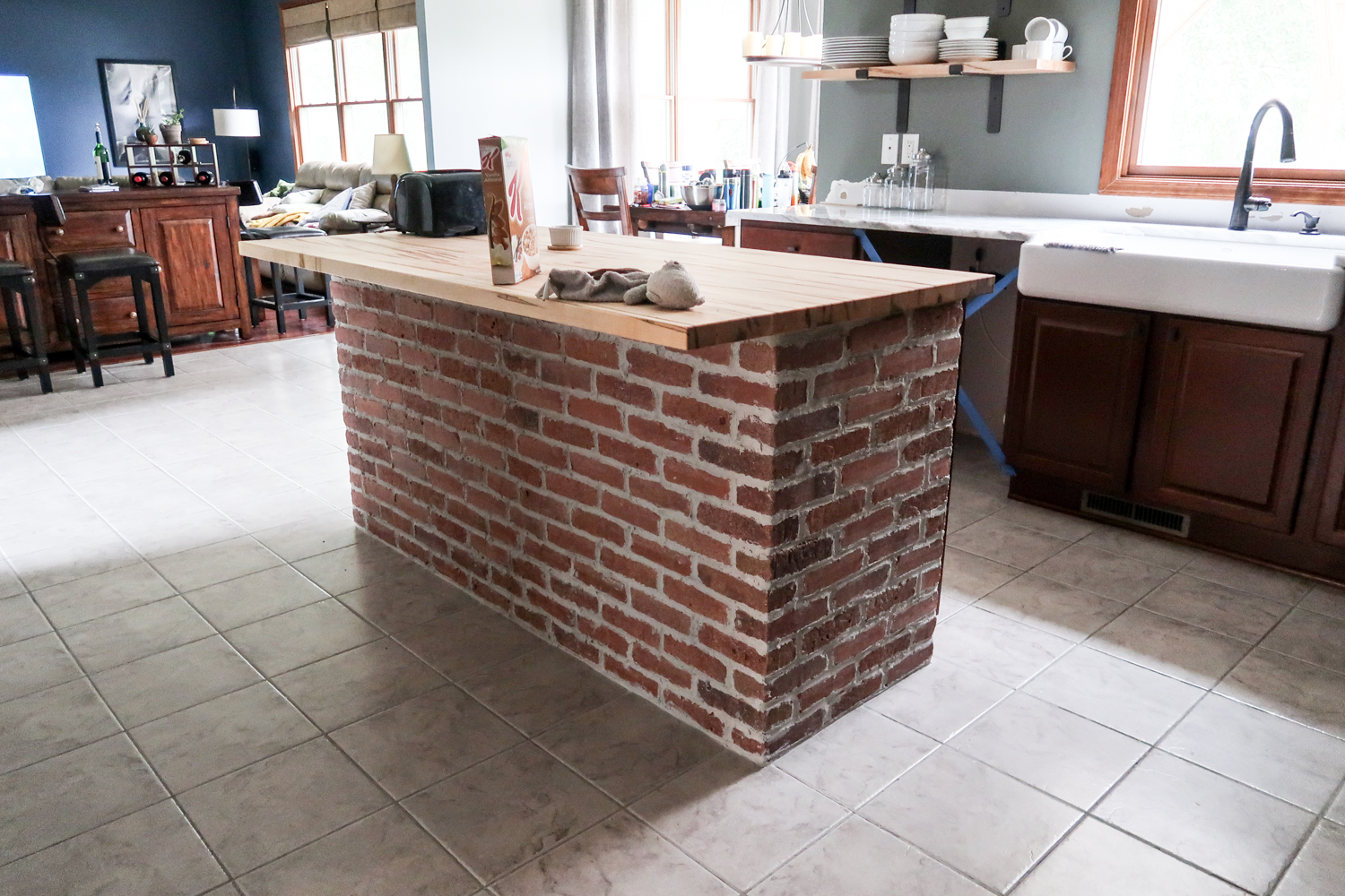 Finished Brick Kitchen Island